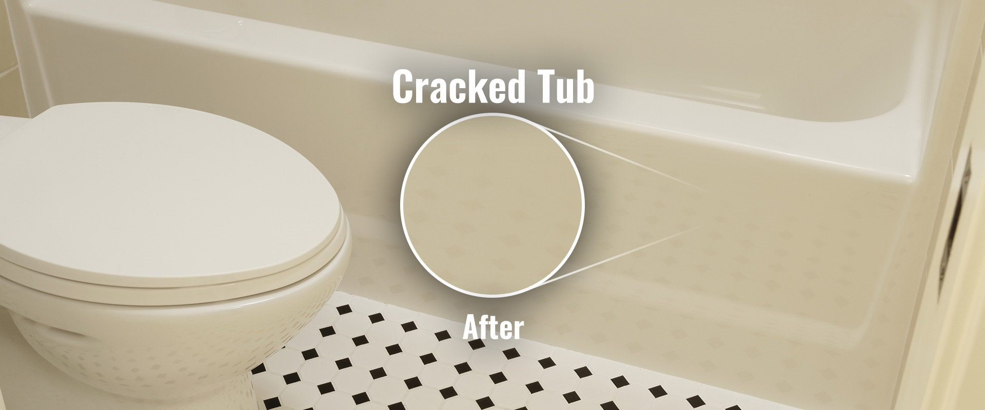 Fiberglass tub after crack repaired.