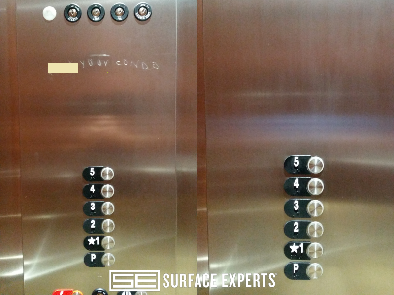 Stainless steel repair. Polishing out scratches in a stainless steel elevator panel.