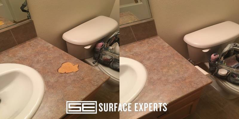 Repair to a large chip missing from the top of a laminate bathroom vanity.