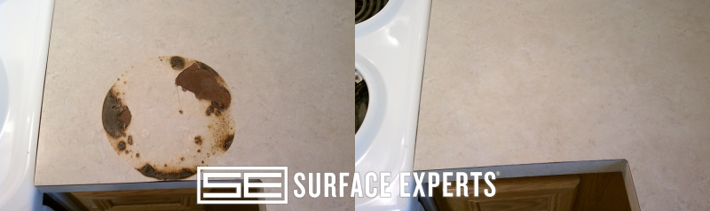 Stained countertop before and after countertop repair