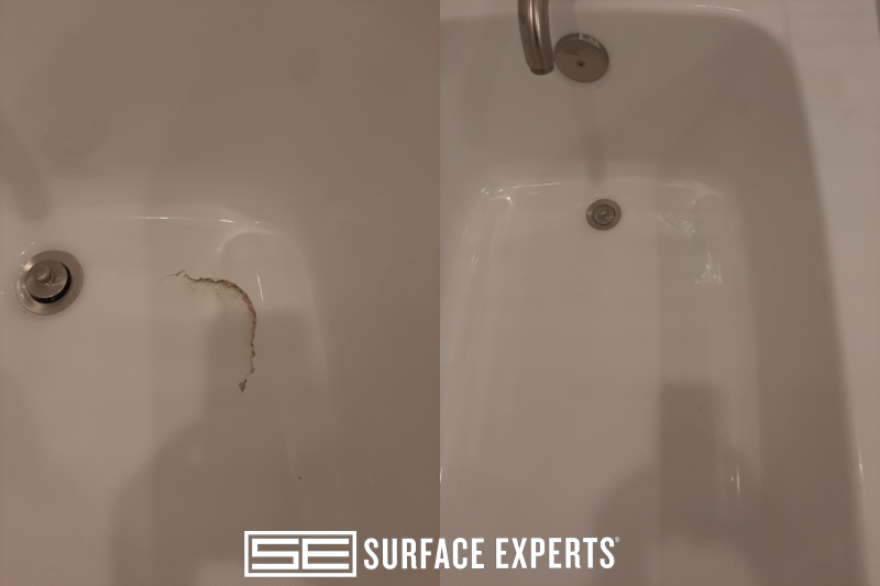 Hard surface repair to crack causing structural damage to a fiberglass bathtub.